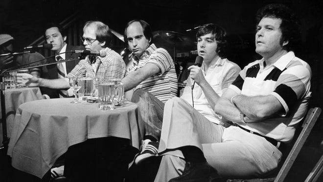 A forum on record producers on March 22, 1977, drew a full house to the Old Time Picking Parlor. Panel participants were Roger Cook, left, Ray Baker, Allen Reynolds, Ron Haffkine, David Malloy and Jim Malloy.