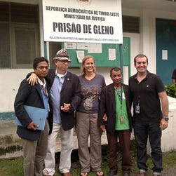 Stacey Addison, center, stands with her legal staff and U.S. Embassy staff who worked on her release.