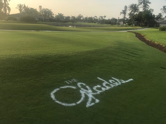Reclaimed water from the pipe spilled onto surrounding grass and into a pond at the nearby Glades Golf and Country Club.