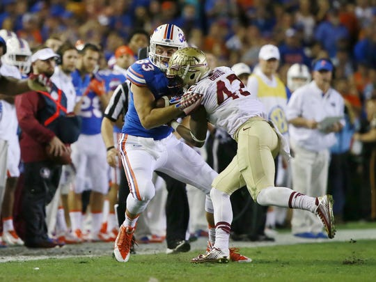 Lamarcus Brutus makes a tackle in FSU's 27-2 win over