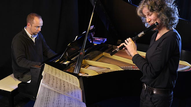 Pan Harmonia rehearsal at The Altamont in 2011. Pianist Fabio Parrini and flutist Kate Steinbeck are pictured.