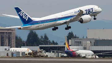 An ANA Boeing 787-8 Dreamliner departs Seattle for Tokyo on Oct. 25, 2015.