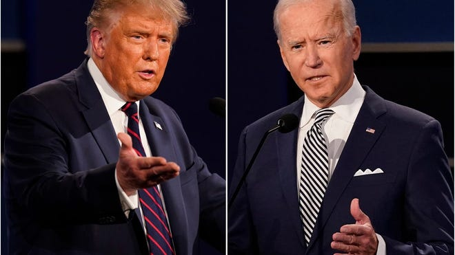 President Donald Trump, left, and former Vice President Joe Viden during the first presidential debate.