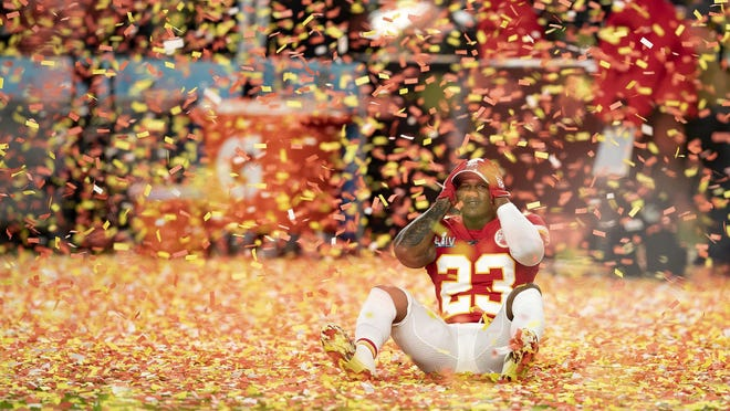 Kansas City Chiefs defensive back Armani Watts soaks up the scene after the Chiefs defeated the 49ers in Super Bowl LIV.