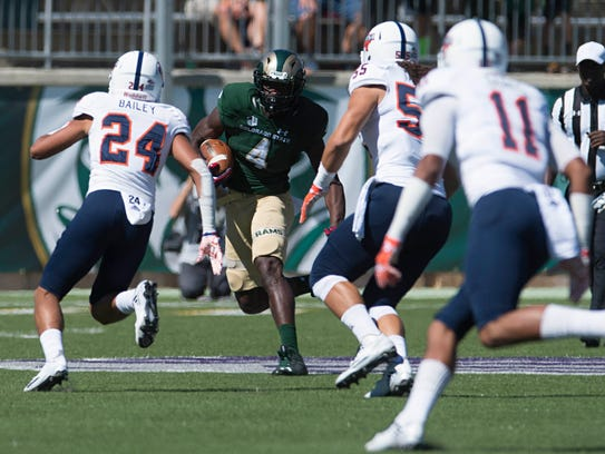 CSU receiver Michael Gallup looks for an opening after