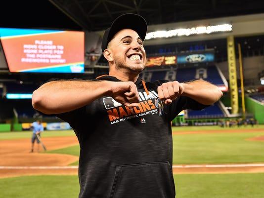 USP MLB: LOS ANGELES DODGERS AT MIAMI MARLINS S BBN USA FL