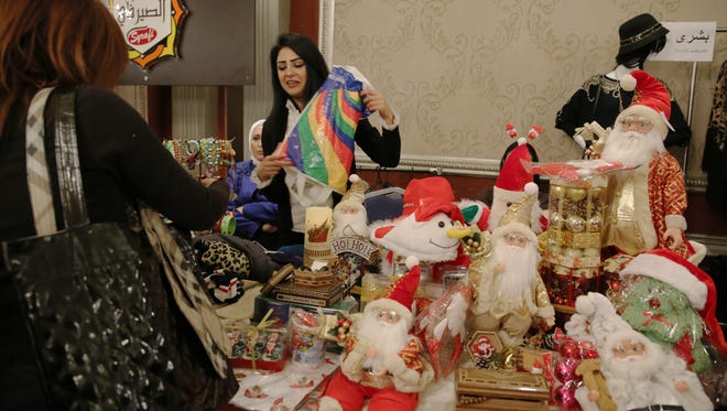 Christmas goods are for sale at the Annual Christmas bazaar in  Damascus, Syria on Dec. 1.