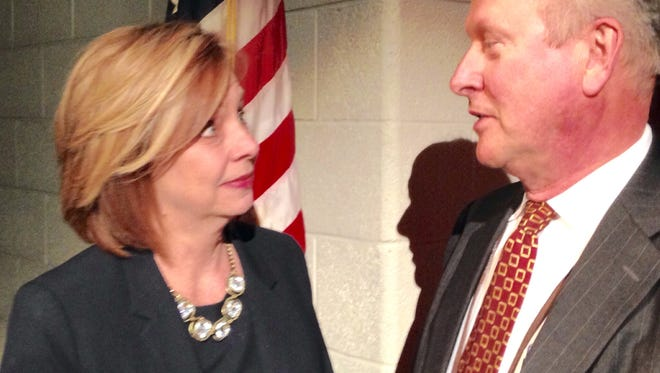 In this March, 2016 photo, incoming Wicomico County Superintendent of Schools Donna Hanlin chats with outgoing Superintendent John Fredericksen. Hanlin starts July 1, 2016, the day after Fredericksen retires after two, four-year terms.