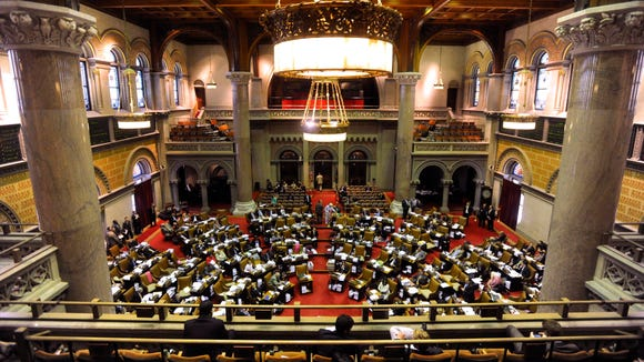 The New York Assembly chambers in Albany. Lawmakers want the governor to be required by law to give an annual State of the State address in the Assembly chambers.