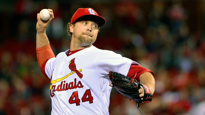 Cardinals closer Trevor Rosenthal throws a pitch during the ninth inning against the Royals at Busch Stadium in St. Louis, Mo. on Aug. 9.