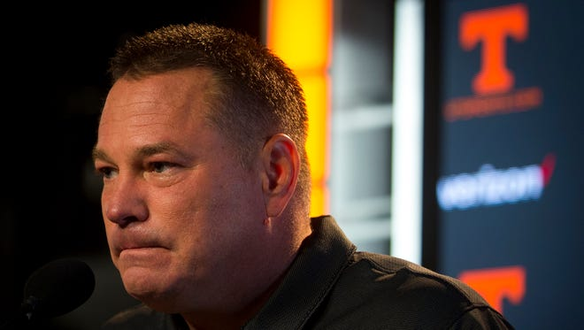 Vols football coach Butch Jones speaks at a press conference on Monday, Sept. 18, 2017, ahead of the team's home game against UMass.