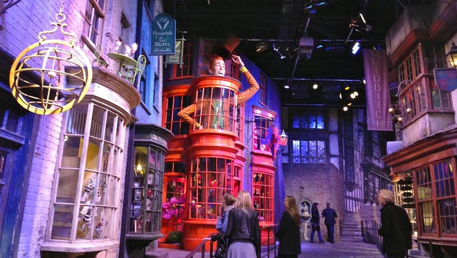 "At the Warner Bros. Studio Tour ""The Making of Harry Potter,"" Leavesden Studios, London, visitors can walk the cobblestone streets of Diagon Alley, the wizarding world's shopping district, which was modeled after descriptions in Charles Dickens books."