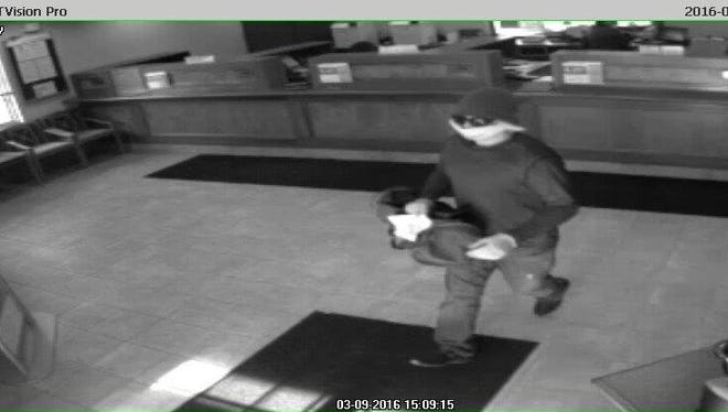 Pennsylvania state police are looking for this man in Wednesday's bank robbery in Susquehanna County.