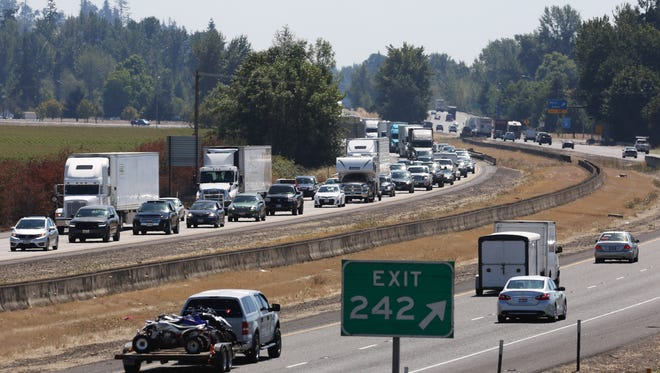 Traffic is backed up at Milepost 242 along Interstate 5 following two separate crashes on Friday, north of Albany. Traffic was backed up for almost 15 miles.