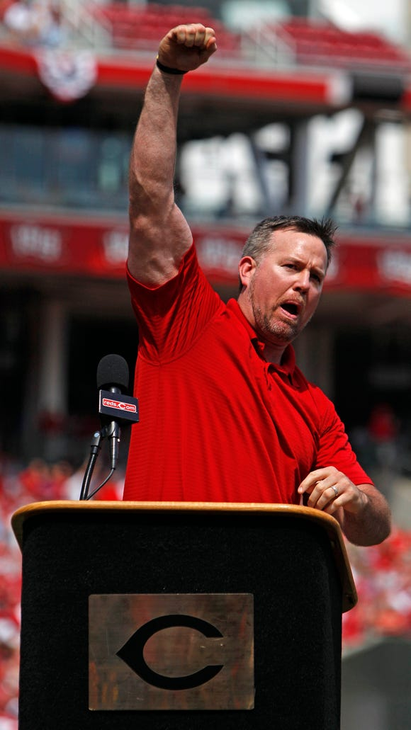Sean Casey reacts at the end of his speech during the
