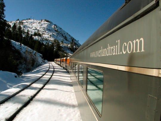 The Reno Fun Train makes its way through the Sierras to Reno, Nev., Sunday, Jan. 8, 2006.