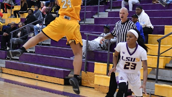 LSUS guard Christina Devers drives for two of her 32 points recently against Xavier.