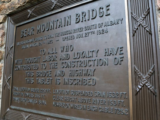 A view of the plaque on the Bear Mountain Bridge, photographed Nov. 12, 2014. The bridge' was opened on Nov. 27th 1924, 90 years ago.