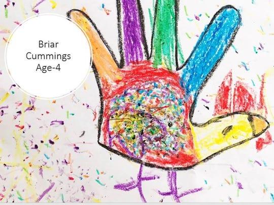 Hand turkey by Briar Cummings, 4.