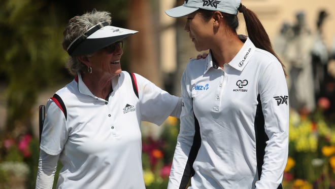 Sandra Palmer, left, LPGA Hall of Famer and teaching pro at Mission Hills Country Club, talks with current LPGA star Lydia Ko. Palmer is one of 120 golfers who will play in the inaugural U.S. Senior Women's Open this week.