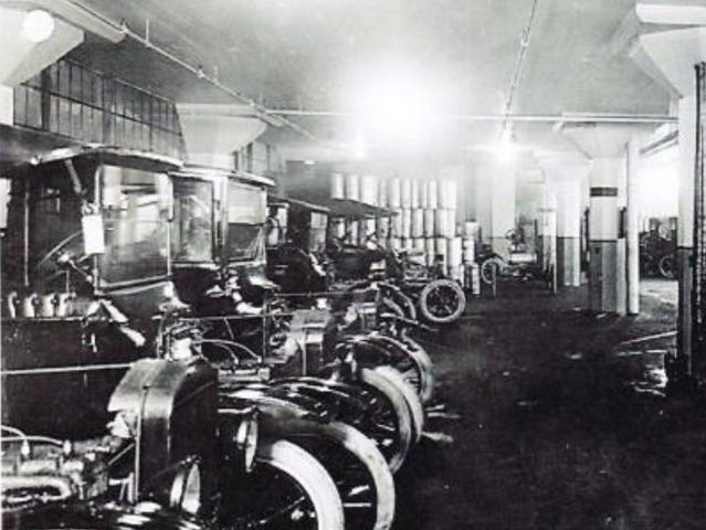 A lineup of old Fords inside the old assembly plant, which opened in 1915. Ford assembled cars there, including many Model Ts, through the early 1930s.