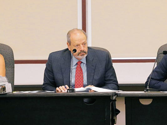 City Attorney Sylvia Borunda Firth, left to right, Mayor Oscar Leeser and City Manager Tommy Gonzalez waited for a second on a motion to postpone Monday's special meeting of City Council.