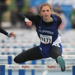 Clear Creek Amana senior Natalie Brimeyer competes in the 100-meter hurdles preliminaries on Friday at the Drake Relays.