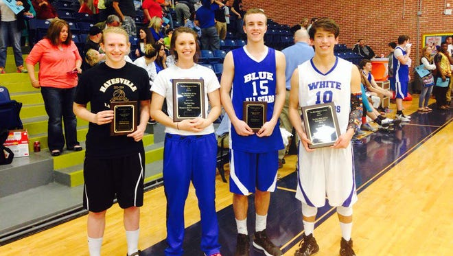 Cherokee's Dustin Johnson, far right, and Madison's Baylea Loven, second from left, were the most valuable players of last year's Blue-White All-Star basketball games.