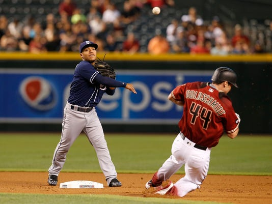 San Diego Padres second baseman Alexi Amarista, left, gets the force out on Arizona Diamondbacks Paul Goldschmidt in the first inning during a baseball game, Sunday, May 29, 2016, in Phoenix. (AP Photo/Rick Scuteri)