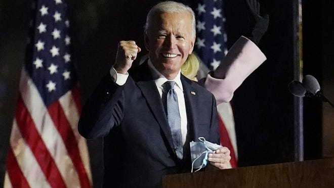 Democratic presidential candidate former Vice President Joe Biden speaks to supporters, early Wednesday, Nov. 4, in Wilmington, Del.