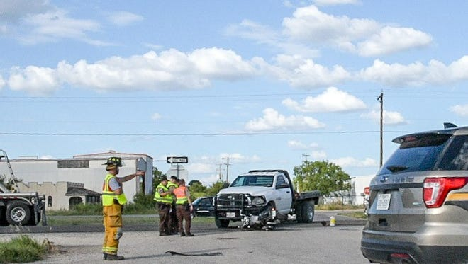 A motorcyclist died Thursday, July 13, 2017, after crashing into a truck that failed to yield the right of way on U.S. Highway 87 near Grape Creek.
