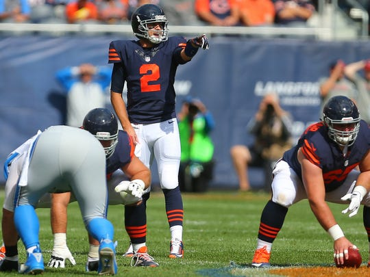 Oct 2, 2016; Chicago, IL, USA;  Chicago Bears quarterback Brian Hoyer calls a play against the Detroit Lions at Soldier Field.