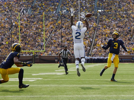 Sep 16, 2017; Ann Arbor, MI, USA; Air Force defensive back Marquis Griffin tips a pass by Michigan quarterback Wilton Speight intended for receiver Kekoa Crawford in the first half at Michigan Stadium.