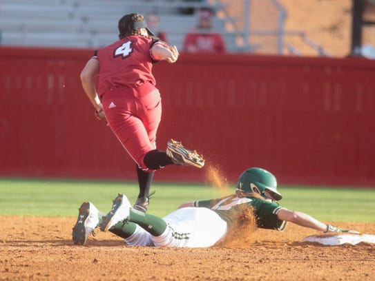 UL's  Kassidy Zeringue can't make the out as Baylor's