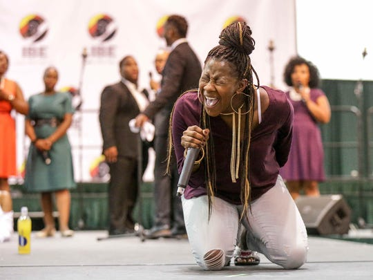 Grammy award winning Gospel Musician and Songwriter Le'Andria Johnson performs during the Indiana Black Expo Gospel Showcase, held at the Indiana Convention Center, Sunday July 17th, 2016.  Johnson was the season three winner of BET's gospel singing competition show Sunday Best.