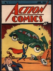 In this image released by Comic Connect Corp., a the June 1938 cover of Action Comics that first featured Superman, is shown.