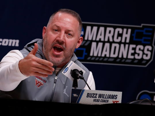 Virginia Tech head basketball coach Buzz Williams talks with reporters before a practice for an NCAA college basketball first round game in Pittsburgh Wednesday, March 14, 2018. AP Photo/Gene J. Puskar)