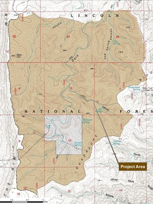 A map of where the Lincoln National Forest plans to conduct a prescribed fire in the Guadalupe Ranger District. The controlled burn is expected to being April 24 and is located about 40 miles southwest of Carlsbad and five miles south of Queen.