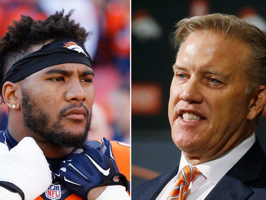 """FILE - These are 2016 file photos showing Denver Broncos' T.J. Ward, left, and John Elway. The Denver Broncos have broken up the """"No Fly Zone,"""" releasing three-time Pro Bowl strong safety T.J. Ward with a year left on his contract. General manager John Elway said cutting the eighth-year pro was a difficult decision """"after everything he's done for our football team."""" (AP Photo/File)"""