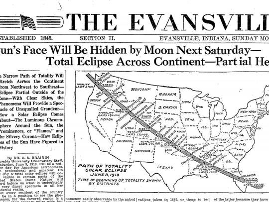 Front page of the Evansville Courier in 1918. It was