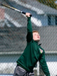 Oak Harbor's Brenen Ish competes Thursday in the SBC Bay Division tournament.