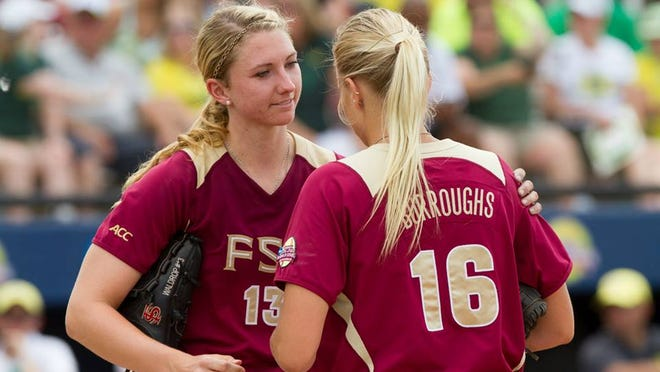 Florida State ace Lacey Waldrop is replaced by freshman Jessica Burroughs in the top of the sixth inning Thursday against Oregon.