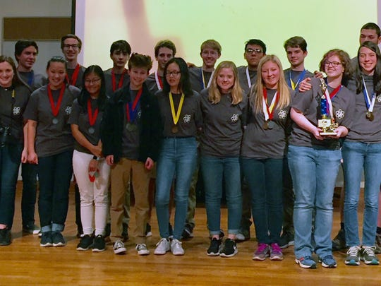 Coaches Bryan and Jayne Schultz are shown with their Science Olympiad students from the regional competition at ETSU, held in late February. The team advanced to the state level. Shown are (rear) the Schultzes, Hunter Harris, Charles Brush, Bryce Lane, Daniel Hristov, Nick Brison, Connor McGinley, Emmanuel Sosa-Cruz, Jakob Liggett and John Codevilla; (front) Sydney Juhl, Sydney Rockwell, Rachel Parrott, Sami Foley, Andrew Sarphie, Jenny Liu, Devon McGinley, Samantha Bell, Kassidy Gray, Anna Wysmierski, Raymond Wysmierski and Kaylin Fleenor.