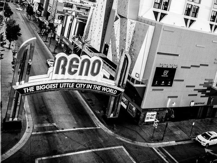 Reno Arch in downtown Reno shot from the Whitney Peak