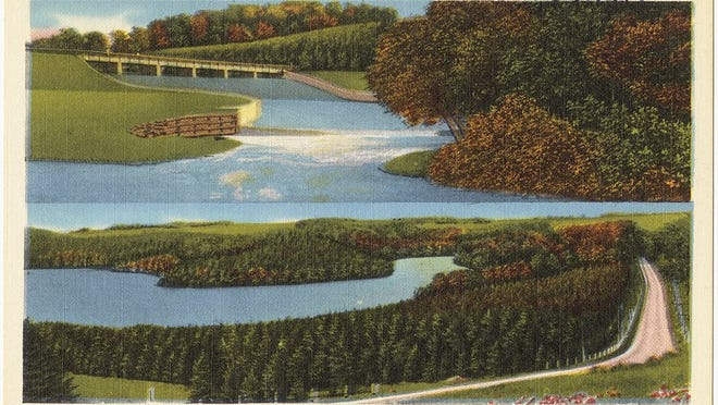 York Water Company's impounding basin, showing spillway channel, York, Pa., York Water Company's impounding basin, showing Reforesting Lake and Susquehanna Trail.Pub. by York News Agency, York, PA.