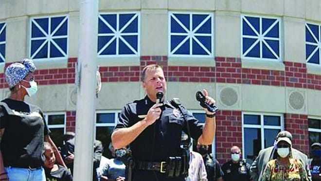 Wichita Chief of Police Gordon Ramsay spoke to a rally crowd on Saturday, May 30 in Wichita, Kansas, showing heartfelt emotion as he called for the conviction of Minnesota policeman Chauvin in the death of George Floyd. The death sparked national protests and rallies for racial justice.