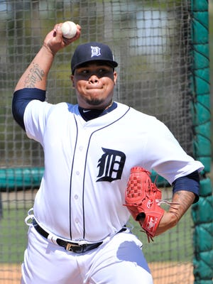 Pitcher Bruce Rondon throws live batting practice.