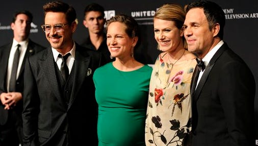 Robert Downey Jr., from left, Susan Downey, Sunrise Coigney and Mark Ruffalo arrive at the BAFTA Los Angeles Britannia Awards at the Beverly Hilton Hotel on Thursday in Beverly Hills, Calif.