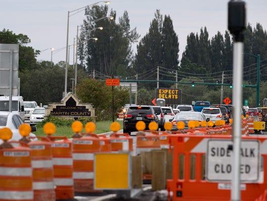 Traffic heading northeast on South Kanner Highway (center)