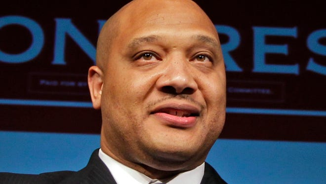 In this Nov. 6, 2012 file photo, Rep. Andre Carson, D-Ind. speaks in Indianapolis.